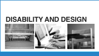 Title Slide - Disability and Design - 3 pictures library, computer, school desk