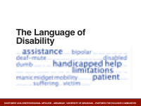 Title Slide - The Language of Disability with a word cloud below