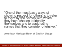 Slide 2 - quote from American Heritage Book of English Usage