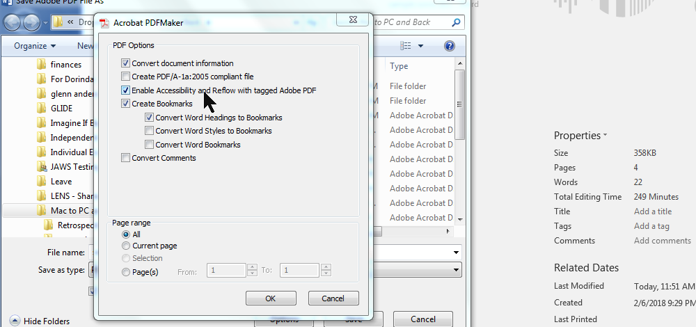 Enable accessibility and reflow with tagged Adobe PDF checkbox checked