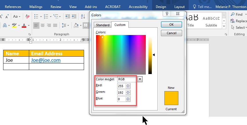 RGB codes in dialog box