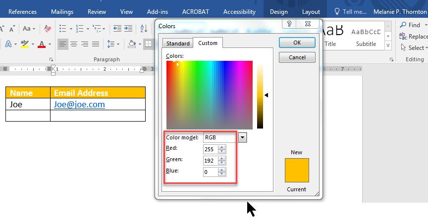 RGB codes in dialog box