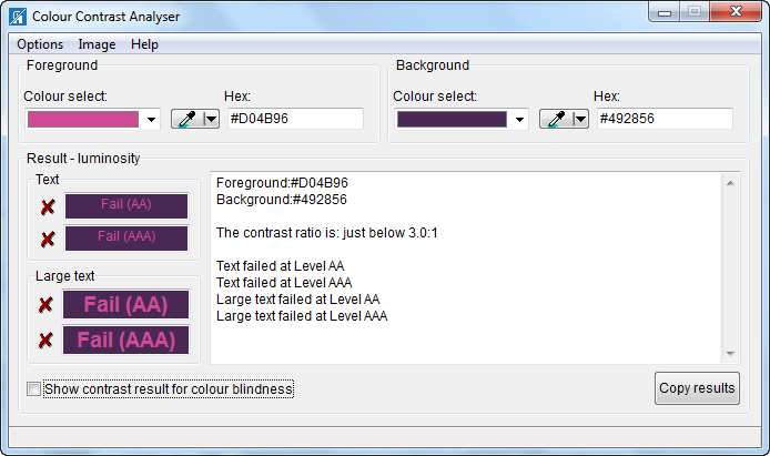 Color Contrast Analyser dialog box