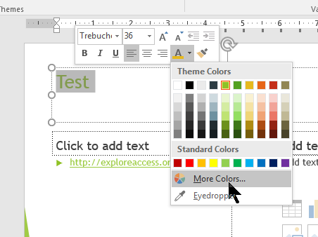 Highlighting text select color pallette dropdown menu and select more colors