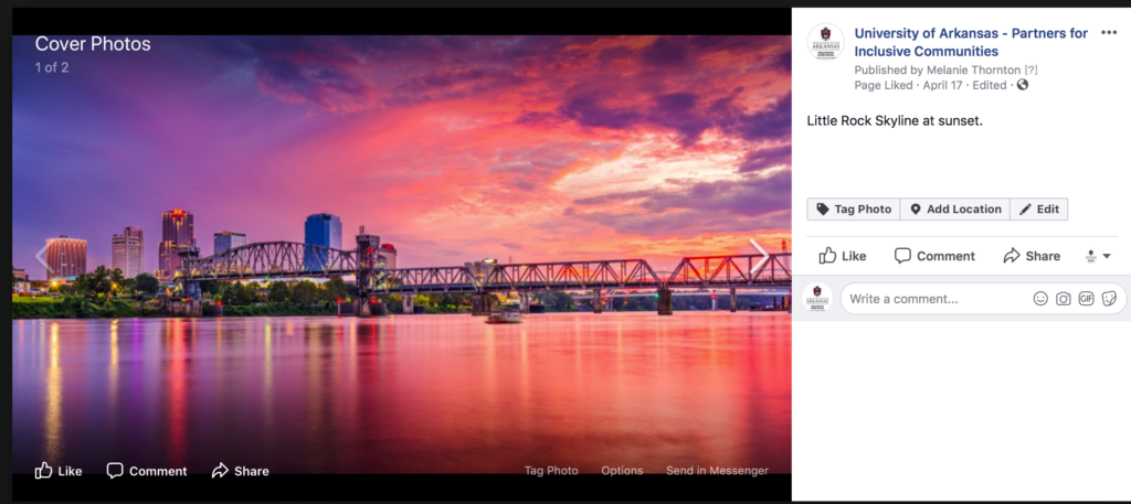 Photo of Little Rock skyline from UA Partners FB page is selected