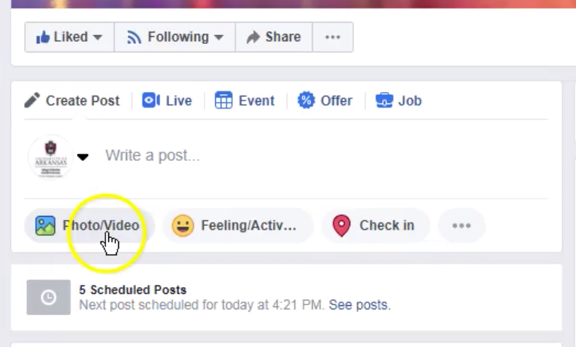 Cursor points to Photo / Video button below the post text field