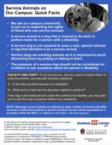 Thumbnail of Service Animals on Our Campus tipsheet blue background with image of dog in right corner