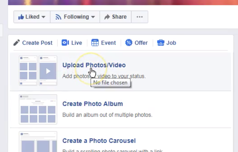 Cursor points to Upload Photo / Video Link