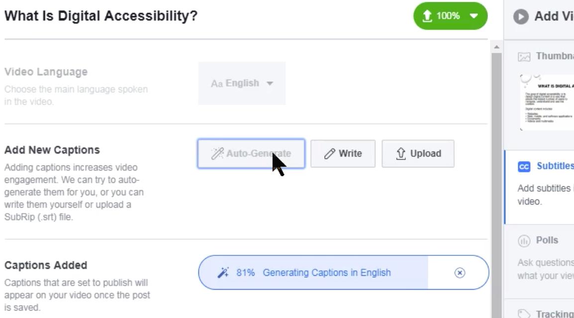 Screenshot showing status bar for auto generations of transcript