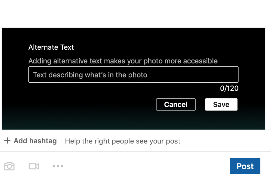 Alternative text dialog box in LinkedIn