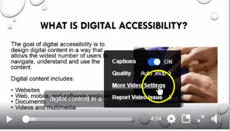 Cursor hovers over menu item labeled more video settings