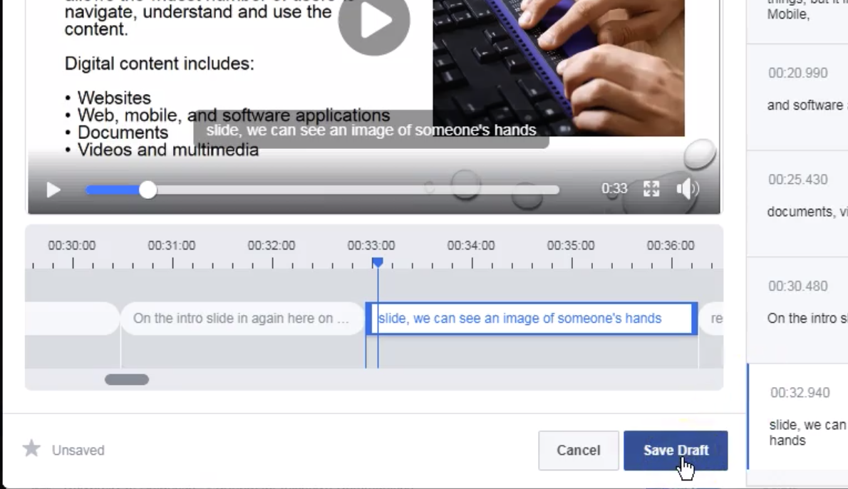 Screen shot of captioning tool with cursor hovering on save draft button