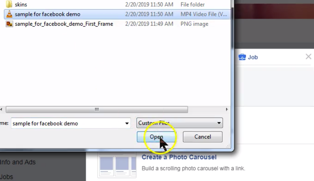 Dialog window with file selected and curse pointing to Open button