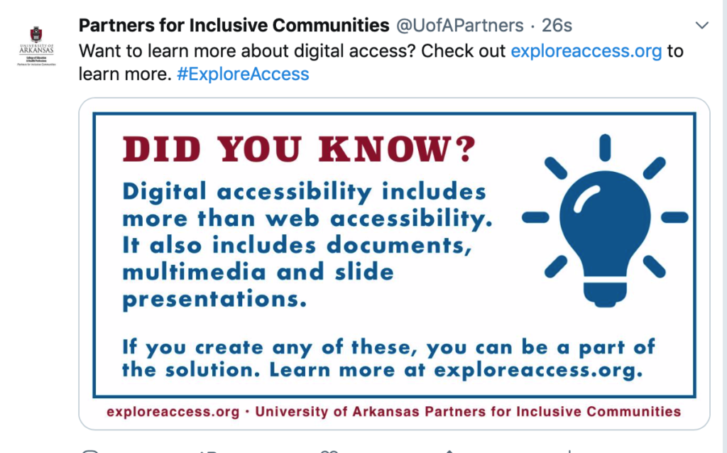 Tweet from Partners for Inclusive Communities reads Want to learn more about digital access? Check out exploreaccess.org. hashtag Explore Access