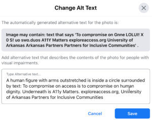 Screenshot of change alt text box with automatically generated text at top and a text box to enter correct alt text below