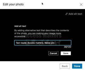 Screenshot of edit your photo window with text area to type alt text
