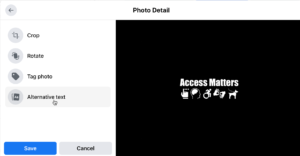 Photo detail dialog box with cursor hovering over alternative text
