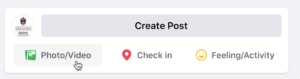 Screenshot of Facebook Create Post with cursor hovering over photo/video link